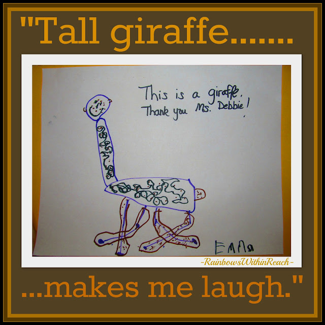 "photo of: Children's Drawing in response to picture book ""Tall Giraffe"""