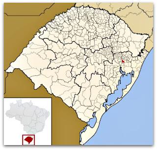 Cidade de São Leopoldo, no mapa do Rio Grande do Sul