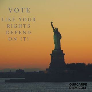 Statue of Liberty at Sunset with Vote Like Your Right Depend on It caption