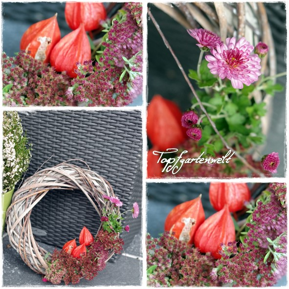 Herbstdeko Kranz mit Physalis und Chrysanthemen für Hauseingang