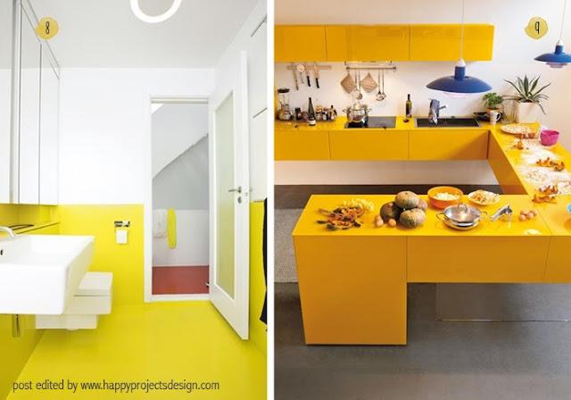 Decoración interior: baño y cocina en amarillo