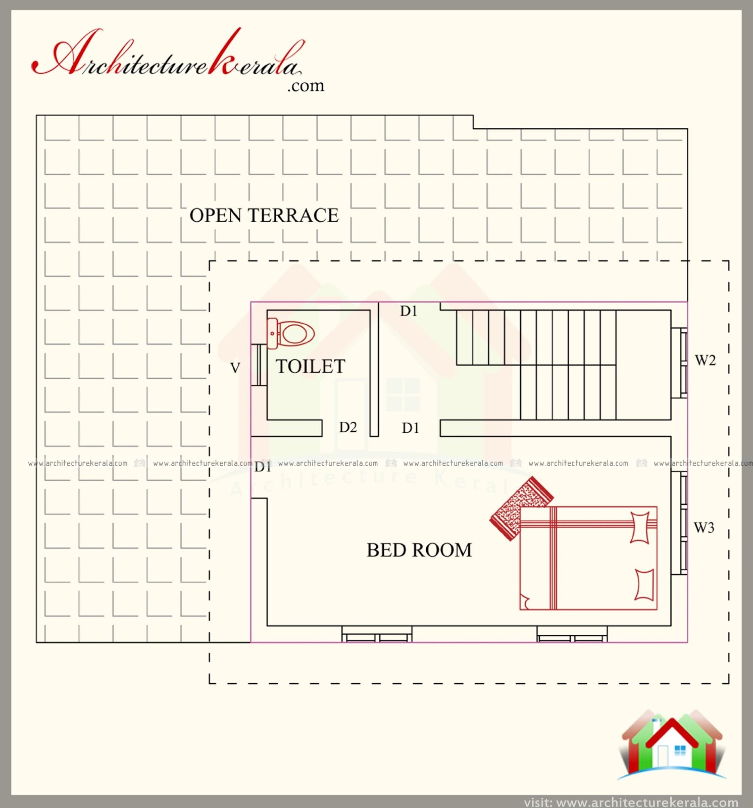 3 bedroom house plan with elevation