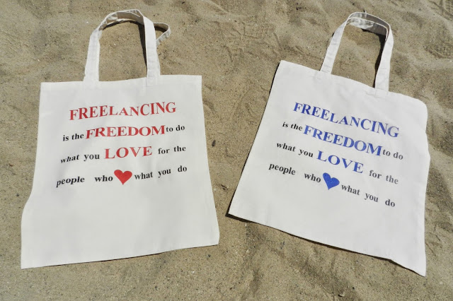 Freelancing is Freedom Red and Blue Totes