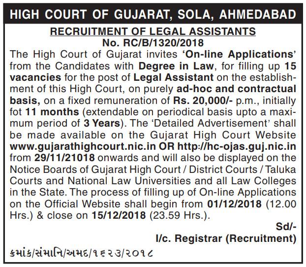 Gujarat High Court Recruitment For Legal Assistant Posts 2018