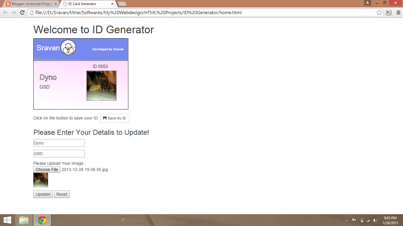 Javascript Programming: ID Card Generator using Canvas