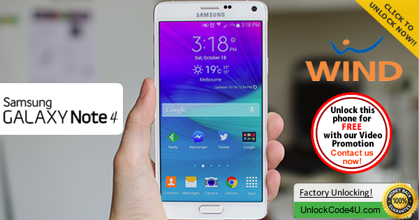 Factory Unlock Code Samsung Galaxy Note 4 from Wind