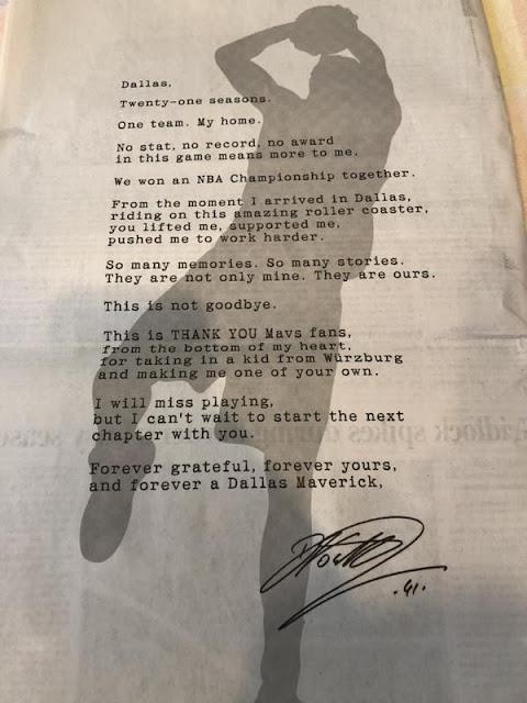 Dirk Nowitzki's thank you to Dallas Maverick fans