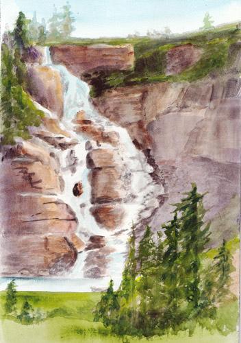 Bunny S Artwork Waterfall Watercolor Painting