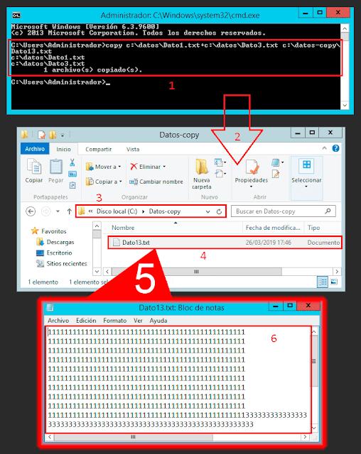 Windows CMD: Anexar el contenido de dos o más archivos de texto usando COPY.
