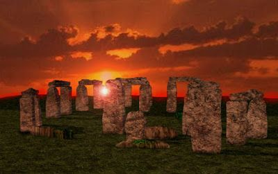Stonehenge en la puesta de sol