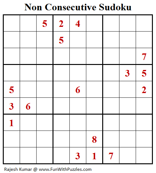 Non Consecutive Sudoku (Fun With Sudoku #259)