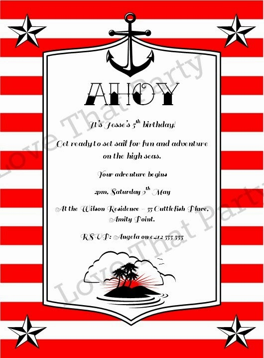 Sailor Jerry Style High Seas Pirate Adventure Printable Invitation in Red - Love That Party. www.lovethatparty.com.au