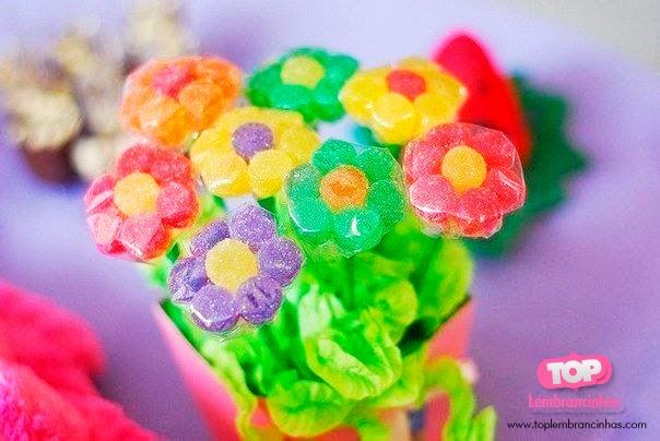 festa Infantil - vaso de flores de jujuba