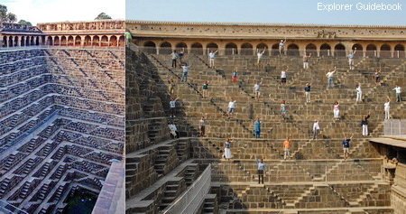 Chand Baori tempat wisata terkenal di India sumur berundak tangga