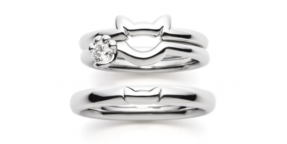 neko wedding rings with ears