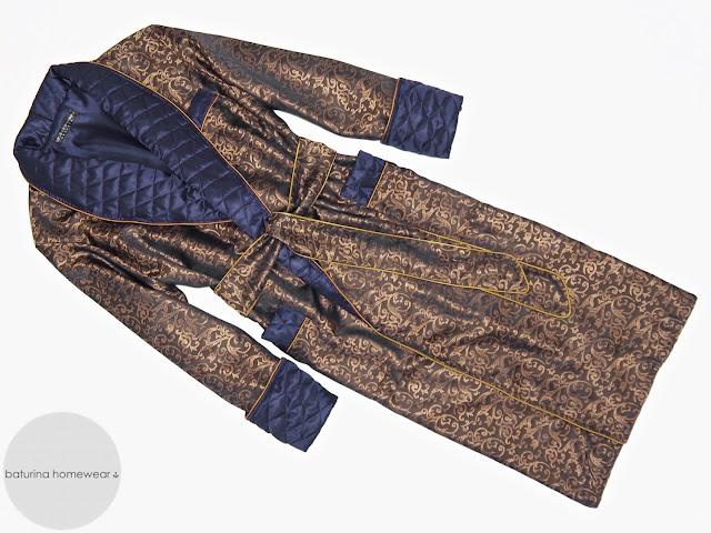 mens paisley silk dressing gown gold blue robe smoking jacket gentleman long lightweight