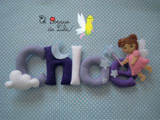 nombre-fieltro-Chloe-decoración-infantil-baby-room-name-banner-elbosquedelulu-felt-feltro-hadas-regalo-personalizado-nacimiento