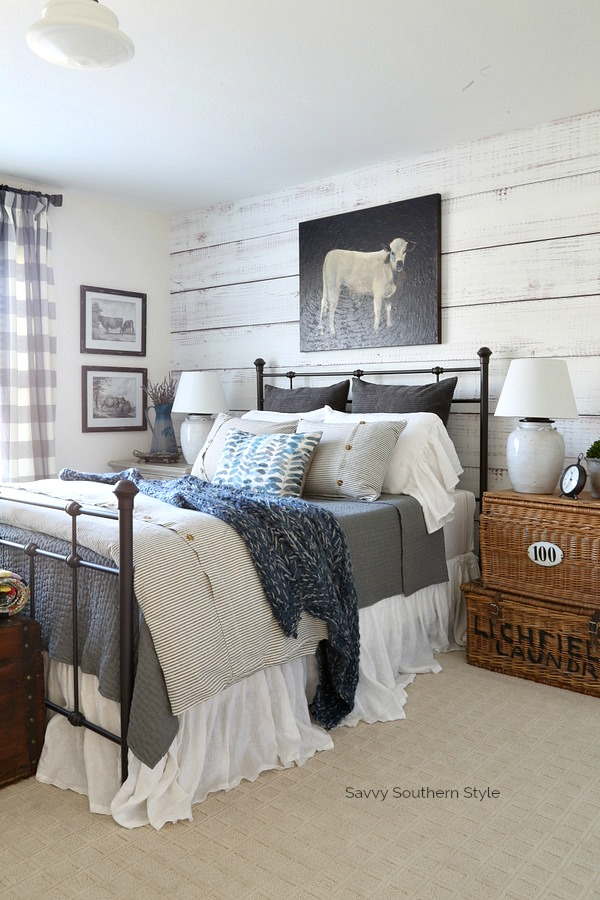 blue and gray winter decor in farmhouse style bedroom