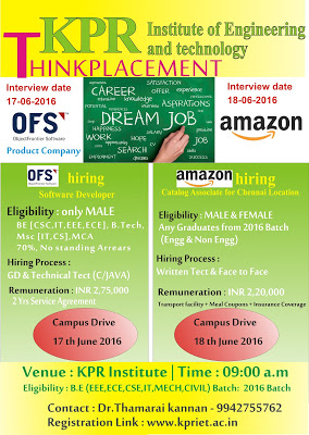 Amazon Off Campus 2016 at KPR Institute of Engineering and Technology, Coimbatore On 18th June 2016