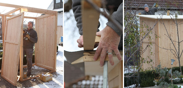 Aufbau des Gerätehauses bei uns im Garten