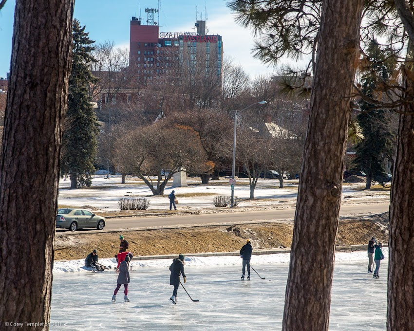 Portland, Maine USA February 2018 photo by Corey Templeton. Ice Skating at Deering Oaks Pond Park in the winter.