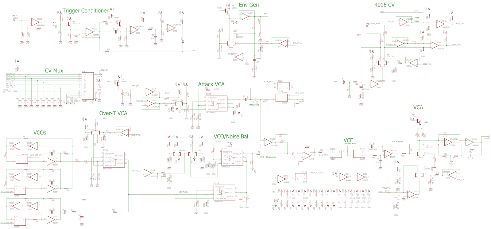 so i took some photos of the board and pieced together a schematic the five voices are nearly identical so only redrew one here it is  [ 1600 x 746 Pixel ]