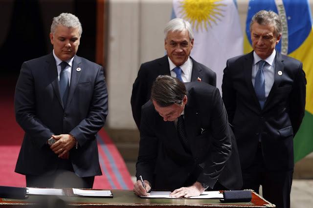 Presidentes de Suramérica firman declaración de Santiago para crear Prosur