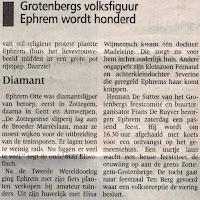 Krantenartikel met  levensbeschrijving van  Ephrim Otte