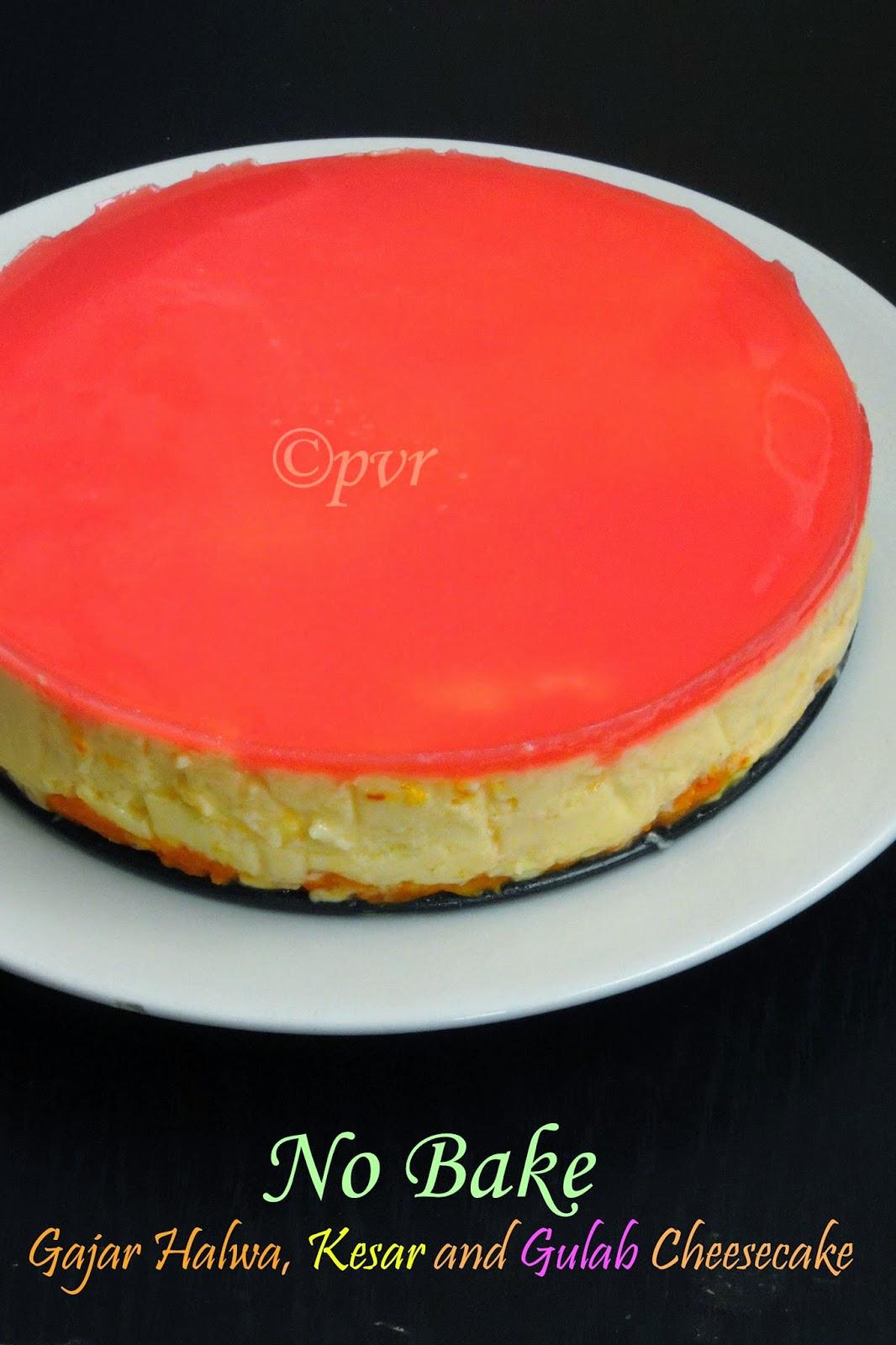 No Bake Gajar Halwa, Kesar and Gulab Cheesecake