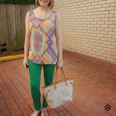 awayfromblue Instagram | colourful SAHM skinny jeans and bright printed tank neverfull tote outfit