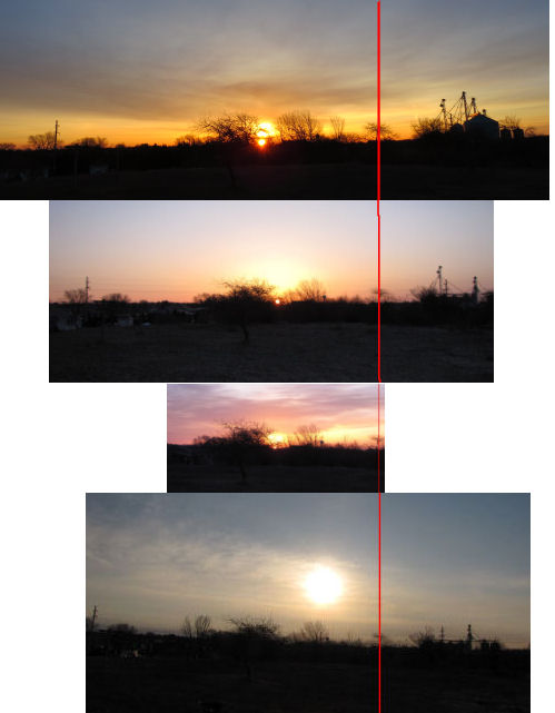 comparative panel of four spring equinox sunrises