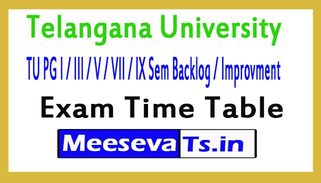 Telangana University TU PG I / III / V / VII / IX Sem Backlog / Improvment Exam Time Table