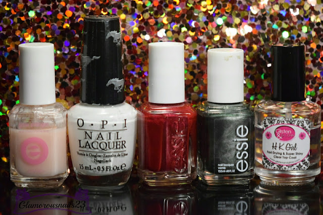 Essie Grow Stronger, O.P.I. Angel With A Lead Foot, Essie Scarlett O'Hara, Essie Metallic Green, Glisten & Glow HK Girl Fast Drying Top Coat