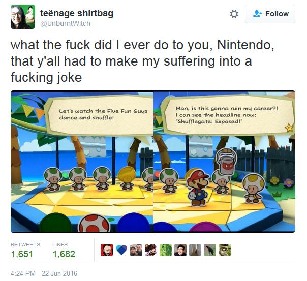 Zoe Quinn Twitter Paper Mario Color Splash Watergate Gamergate Shufflegate