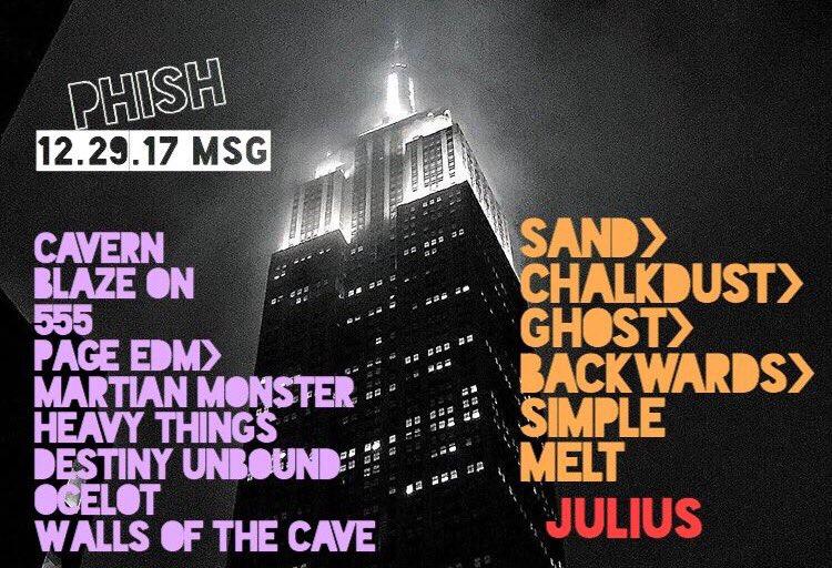 Coventry Music: Phish MSG Setlist: 12/29/17 New York, NY