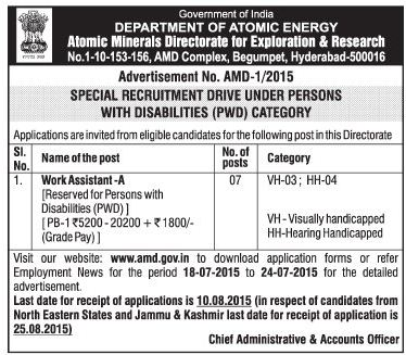 Online Applications are invited Works Assistant vacancy, Special Recruitment Drive for PH Quota in Atomic Mineral Directorate for Exploration and Research