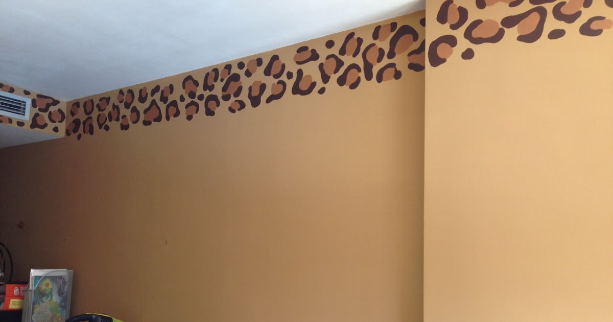 decopared Cenefa de leopardo pintada a mano sobre la pared