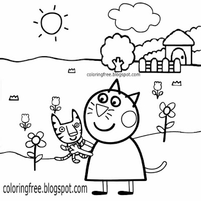 Kitten easy preschool printables British TV cartoon Candy Cat Peppa Pig colouring pages for toddles