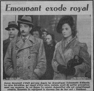 Rare Photos of King Zog and Queen Geraldine in Istanbul by French Press after the fascist occupation
