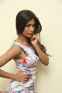 Nishi Ganda stunning cute in Flower Print short dress at Tick Tack Movie Press Meet March 2017 158.JPG