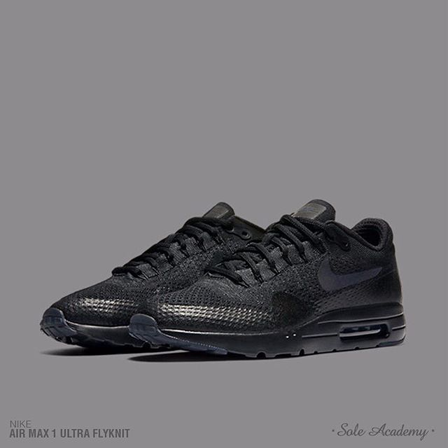 new product a80e6 84bc7 Nike Air Max 1 Ultra Flyknit Pitch Black  Analykix