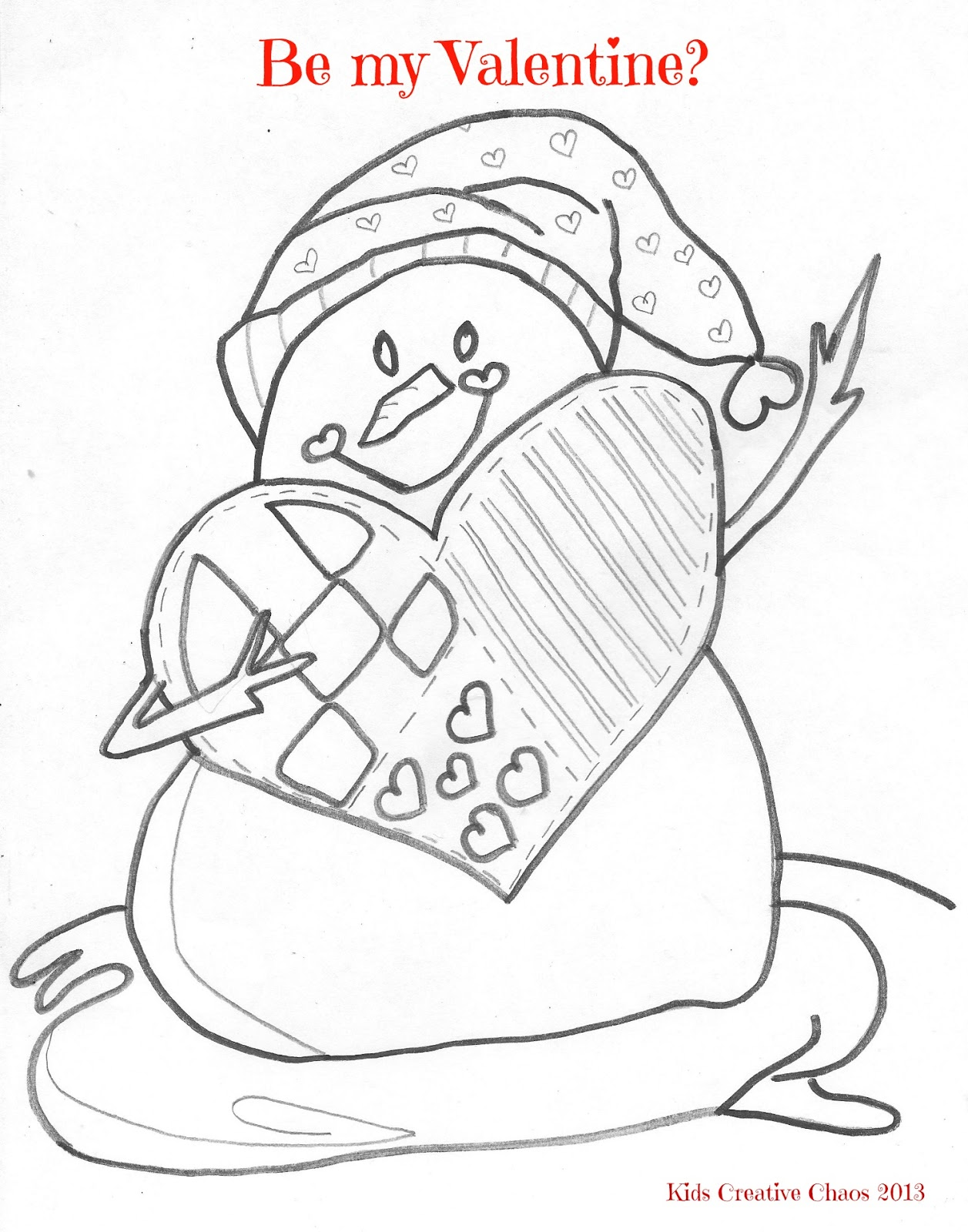 Snowman Free Printable Valentines Coloring Pages Happy Heart Day
