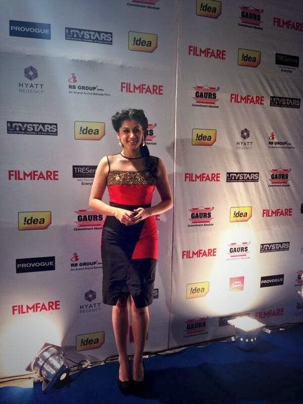 Taapsee Pannu is the first to arrive at the Filmfare Awards party.