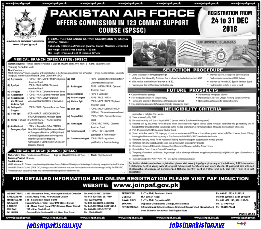 Advertisement for PAF Jobs December 2018