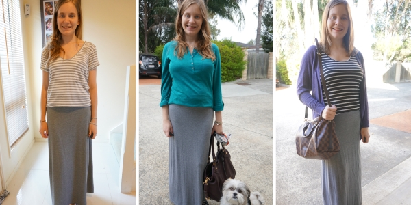 postpartum outfit ideas with a grey maxi skirt | away from the blue blog