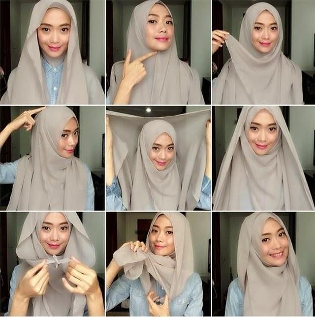 Cara Memakai Hijab Segi Empat Saudia Yang Simple