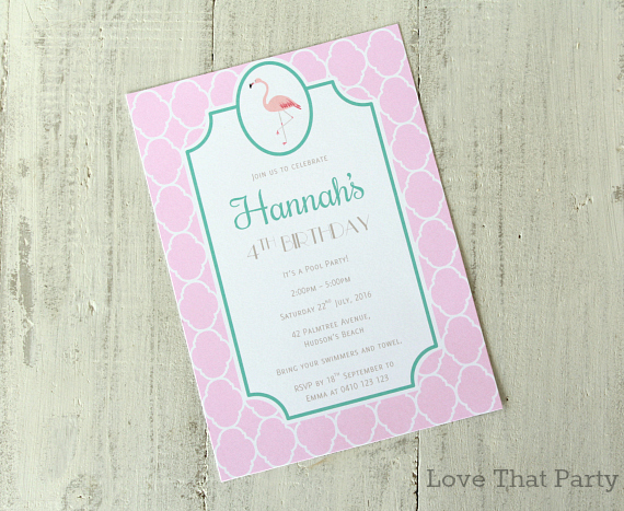 image of pink flamingo party invitation