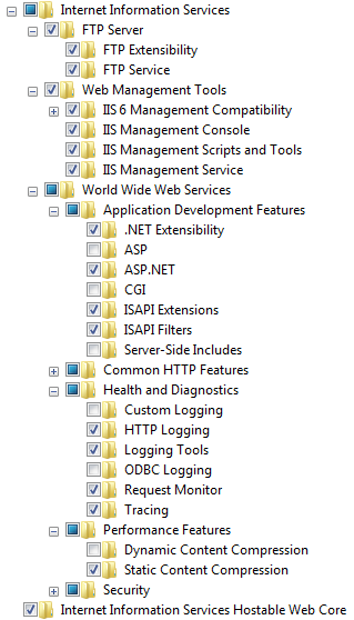 Installing IIS and .net framework