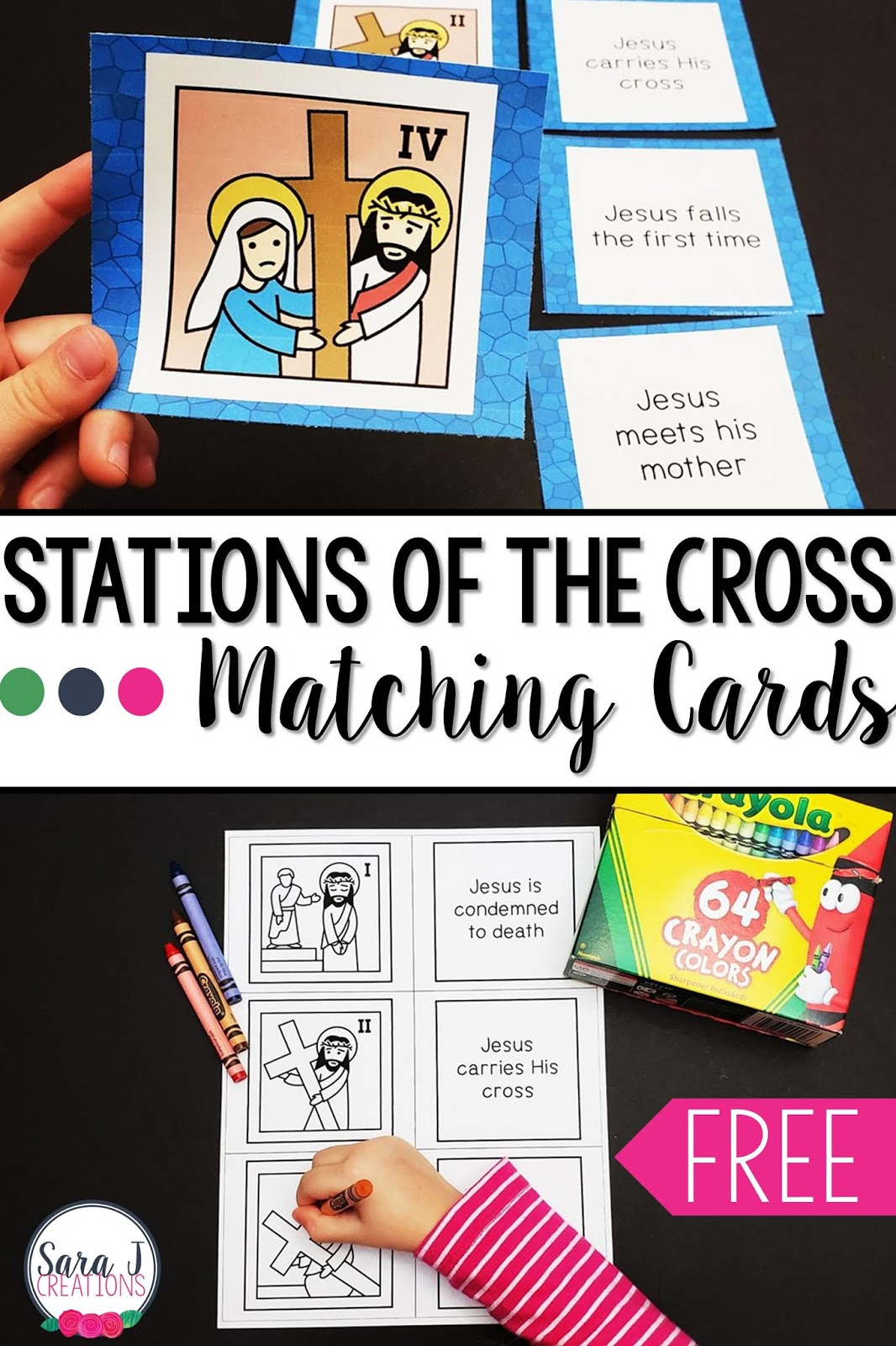 Stations Of The Cross Matching Cards Freebie