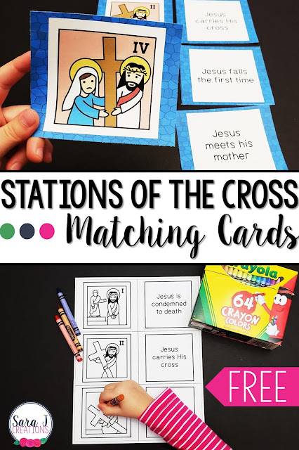 Check out these FREE printable Stations of the Cross matching cards and ideas for additional activities for kids to do with the cards. A great way to help Catholic children with prayer and reflection of the death of Jesus Christ especially during Lent.